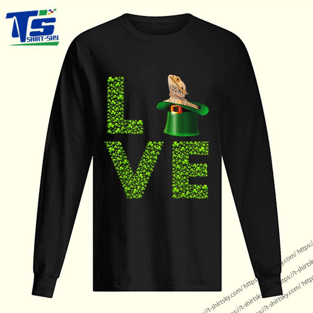 Awesome Love Bearded Dragon St Patrick's Day Shamrock Irish shirt 2