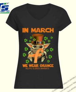 Multiple Sclerosis Awareness Baby Yoda In March We Wear Orange Shirt 1