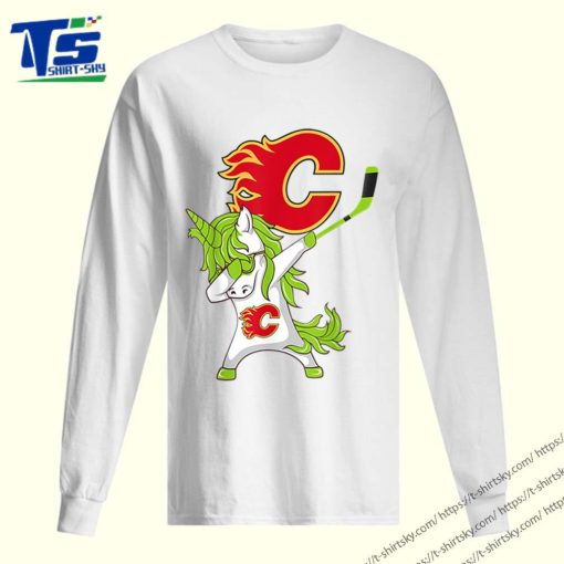 Pretty St Patrick Day Dabbing Unicorn Hockey Stick Calgary-flame shirt