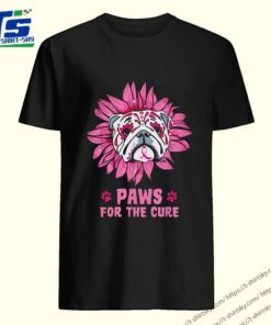 Bulldog paws for the cure Breast Cancer Awareness shirt