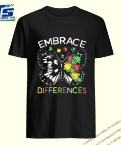Embrace Differences Autism Butterfly Puzzle Piece Tee Shirt