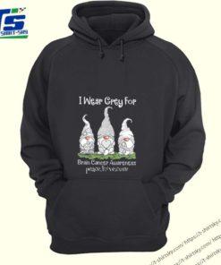 Gnome I wear grey for Brain Cancer Awareness peace love cure shirt