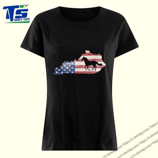 Kentucky TShirt Kentucky Map American Flag USA Horse T-Shirt