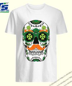 Pretty Sugar Skull St. Patrick's Day St. Pat Day Skeleton Tee shirt