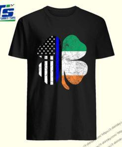Thin Blue Line St. Patrick's Day American Irish Flag Police T-shirt