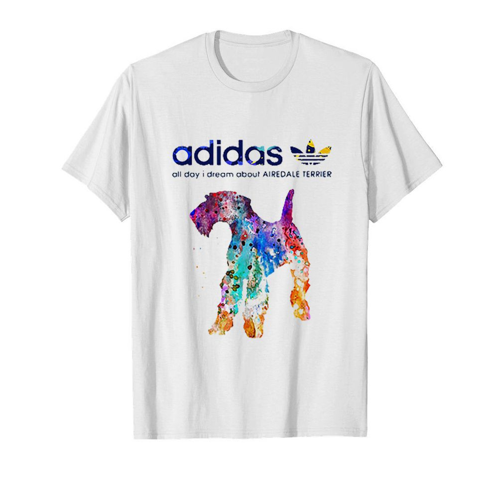 Adidas all day I dream about Airedale Terrier colors shirt 5