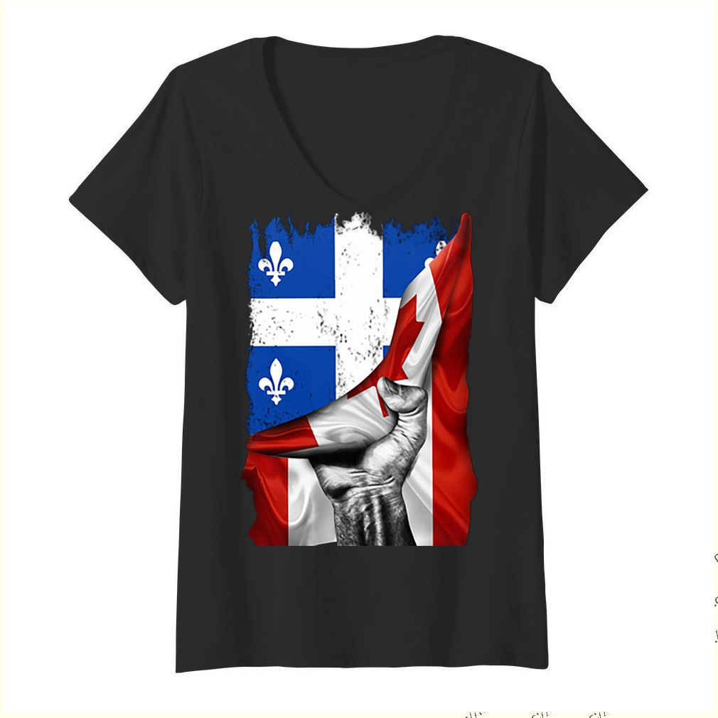 Quebec flag inside Canada flag shirt 1