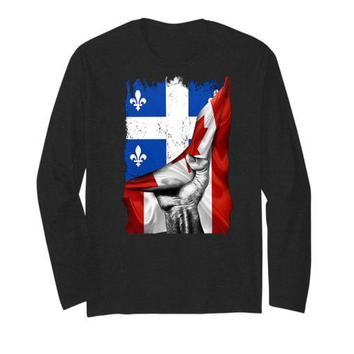 Quebec flag inside Canada flag shirt 2