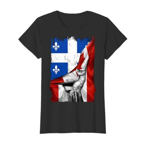 Quebec flag inside Canada flag shirt 3