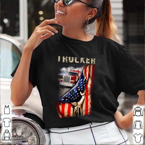 Trucker Love Truck Behind American Flag T-