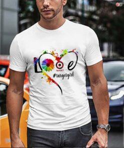 Lgbt love target girl flower heart shirt