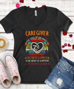 Caregiver the soul of angel the fire of a lioness the heart of a hippie vintage shirt 1