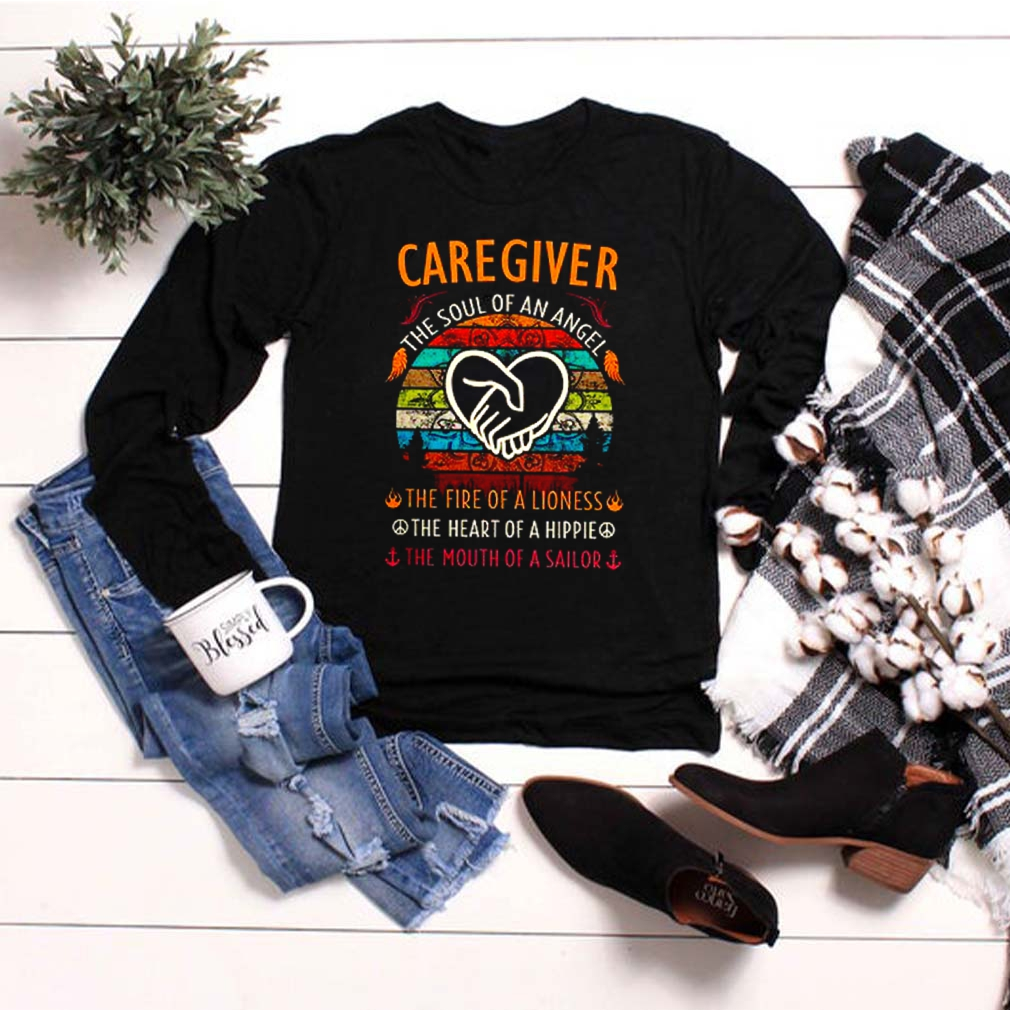Caregiver the soul of angel the fire of a lioness the heart of a hippie vintage shirt 6