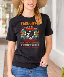 Caregiver the soul of angel the fire of a lioness the heart of a hippie vintage shirt 7