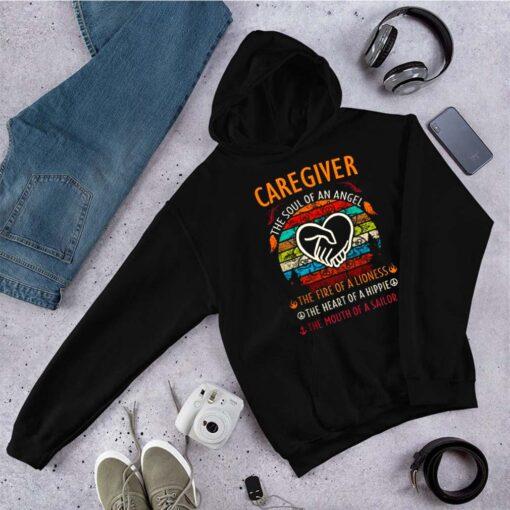 Caregiver the soul of angel the fire of a lioness the heart of a hippie vintage shirt 8