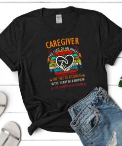 Caregiver the soul of angel the fire of a lioness the heart of a hippie vintage shirt 9