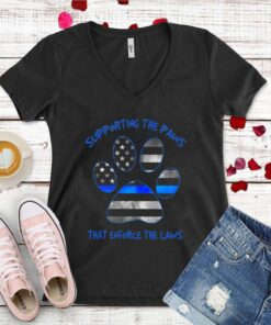 Dog Paw Supporting The Paws That Enforce The Laws American Flag shirt 1