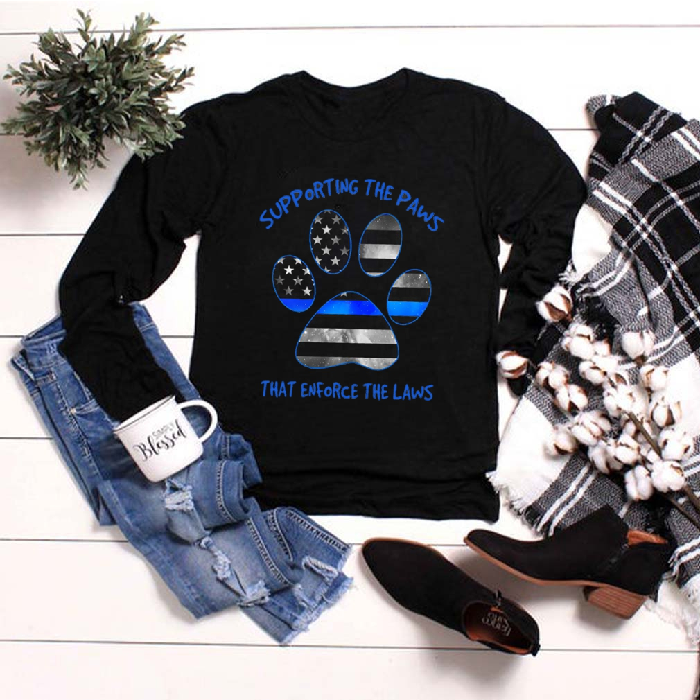 Dog Paw Supporting The Paws That Enforce The Laws American Flag shirt 2