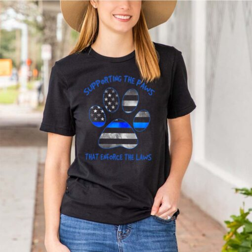Dog Paw Supporting The Paws That Enforce The Laws American Flag shirt 3