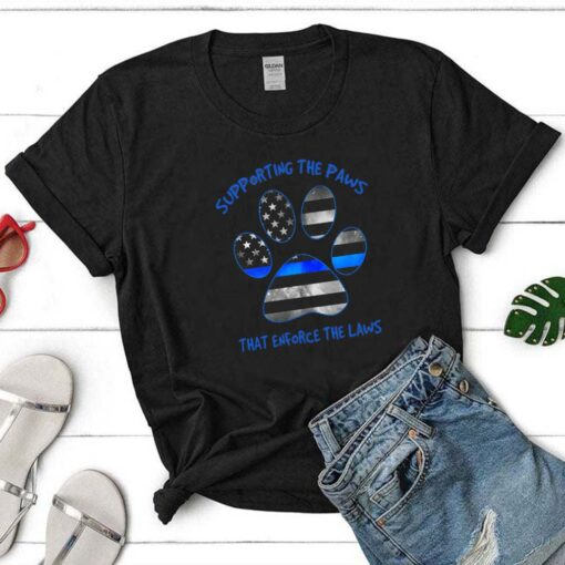 Dog Paw Supporting The Paws That Enforce The Laws American Flag shirt 5