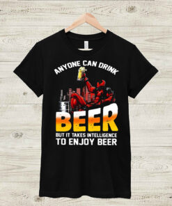 deadpool anyone can drink beer but it takes intelligence to enjoy beer shirt Long Sleeve 3
