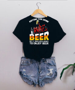 deadpool anyone can drink beer but it takes intelligence to enjoy beer shirt Long Sleeve 6