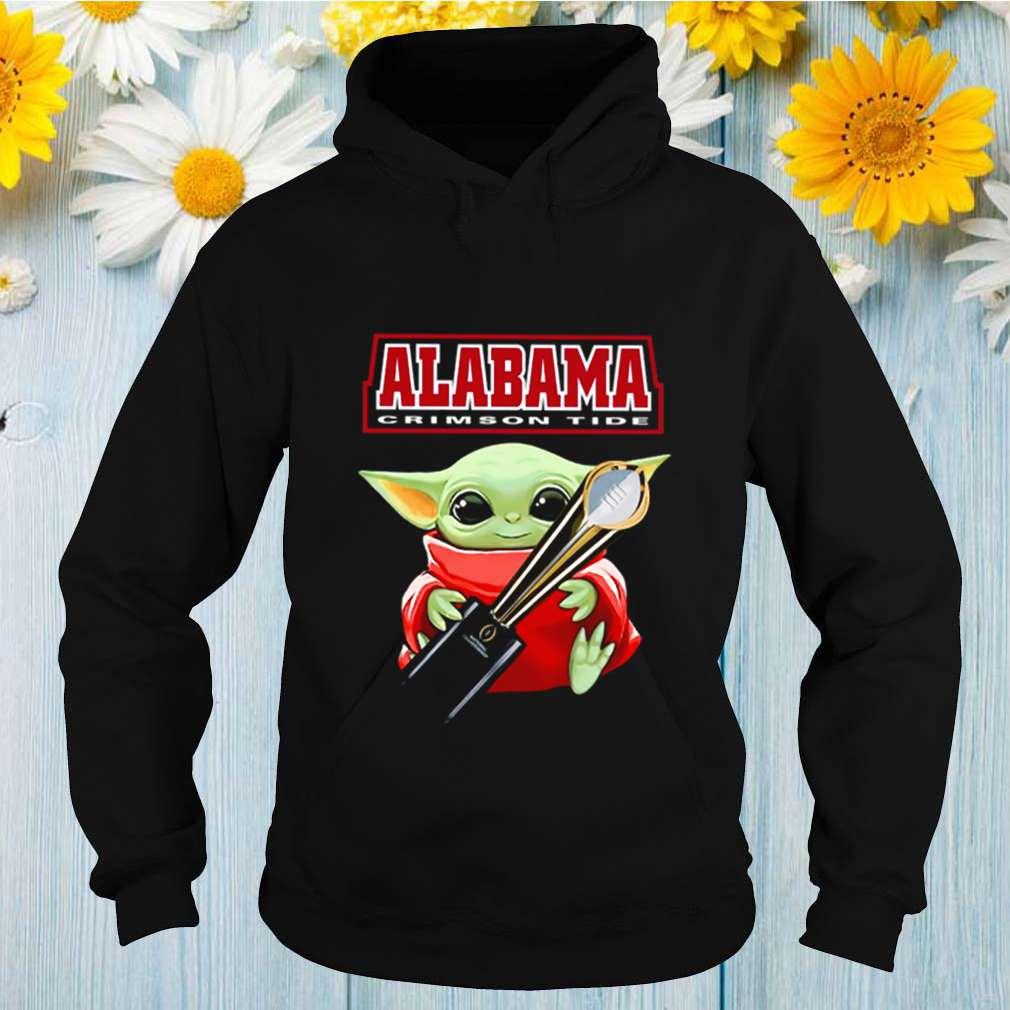 Baby Yoda hug CFP National Championship cup Alabama Crimson Tide shirt