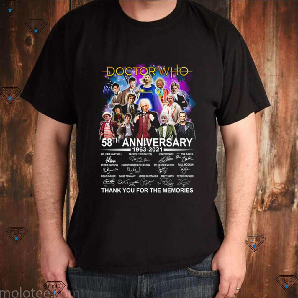 Doctor Who 58 anniversary 1963 2021 thank you for the memories signatures shirt