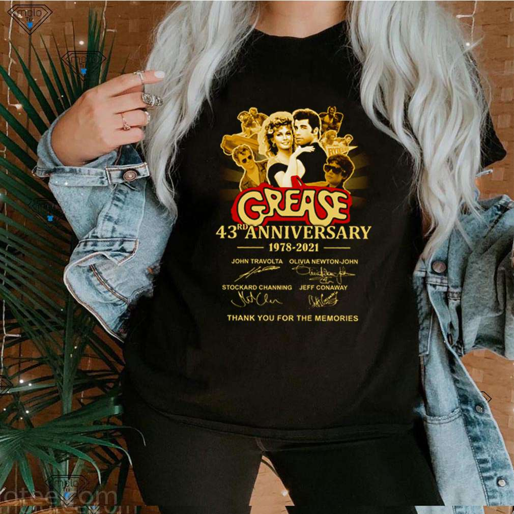 Grease 43rd anniversary 1978 2021 thank you for the memories signatures shirt