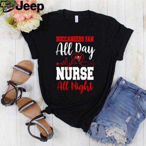 Heartbeat Tampa Bay Buccaneers fan all day nurse all night shirt 3