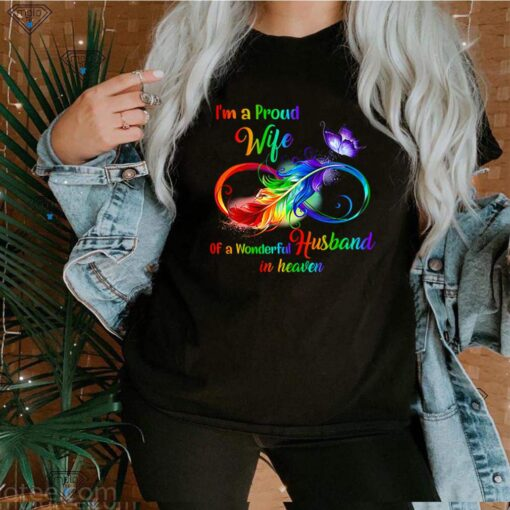 Im a proud wife of a wonderful husband in heaven shirt