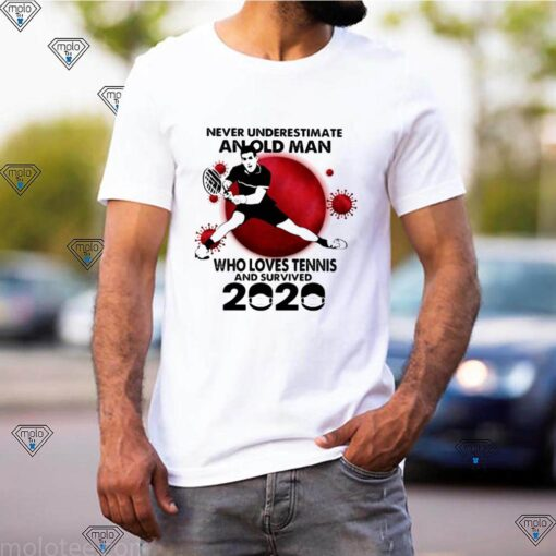 Never Underestimate An Old Man Who Loves Tennis And Survived 2020 Mask Covid 19 shirt