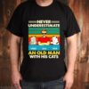 Never underestimate simba and jack and tiger an old man with his cats vintage shirt