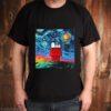 Snoopy And Woodstock Peanuts Cartoon Starry Night Print shirt