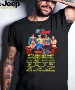 The Big Bang Theory 14th anniversary 2007 2021 thank you for the memories shirt