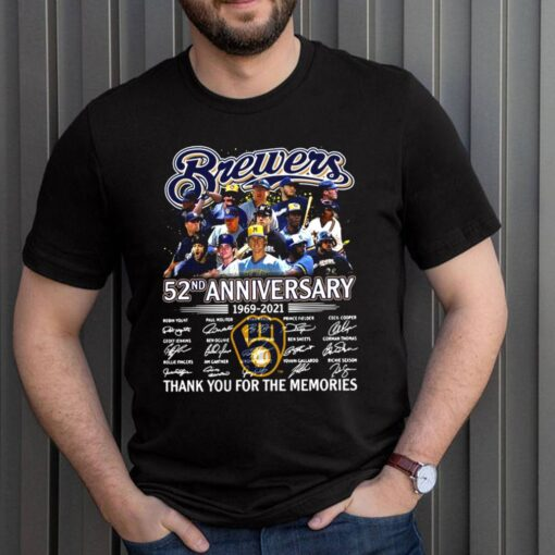 Brewers 52nd anniversary 19692 2021 thank you for the memories signatures shirt