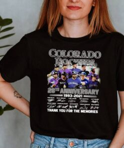 Colorado Rockies 28th anniversary 1993 2021 thank you for the memories signatures shirt 8