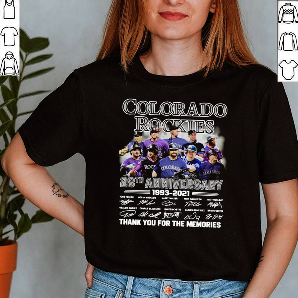 Colorado Rockies 28th anniversary 1993 2021 thank you for the memories signatures shirt 12