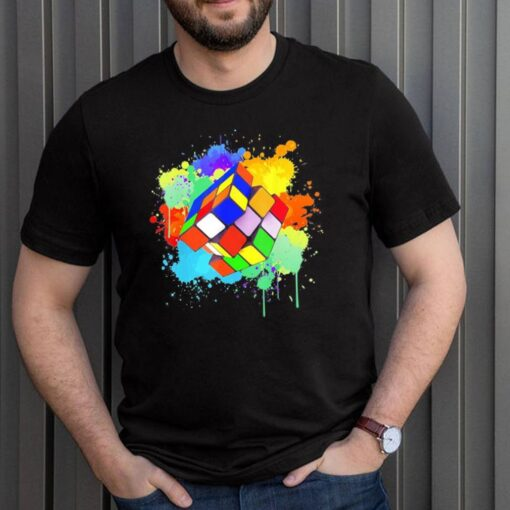 Cool rubik rubix rubics player cube watercolor lovers shirt 3