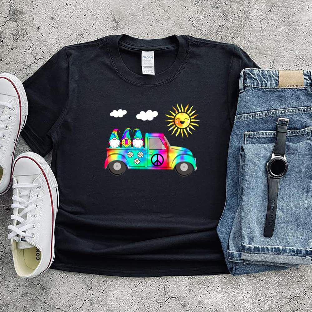 3 Hippie Gnomes In Truck Tie Dye Hat Psychedelic Sun shirts 12