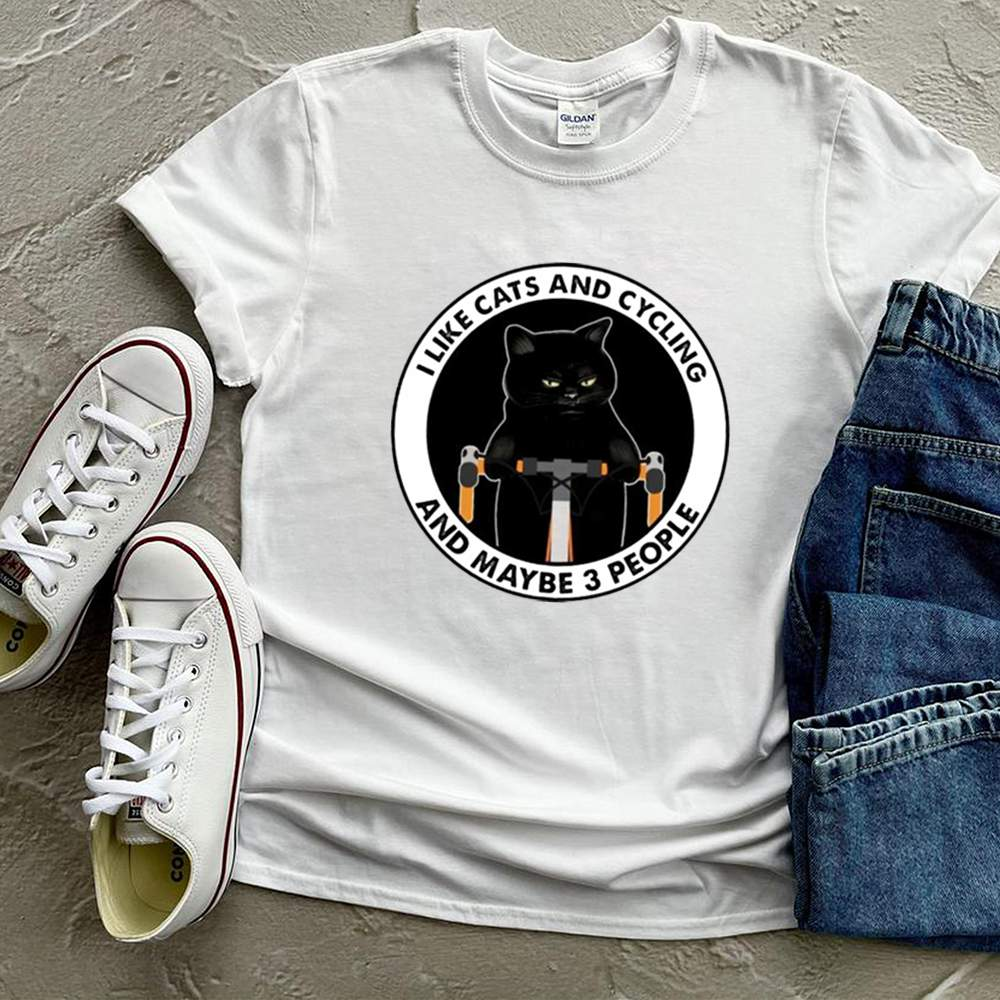 I like cats and cycling and maybe 3 people shirt 12