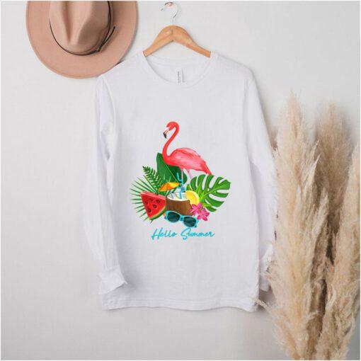 Hello Summer Vacation Tropical Flamingo shirt