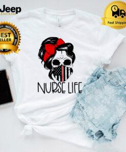 American Flag Messy Bun Hair Skull Nurse Life Shirt