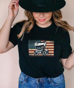 Dirt Track Racing Sprint Car Vintage Retro American Flag T Shirt