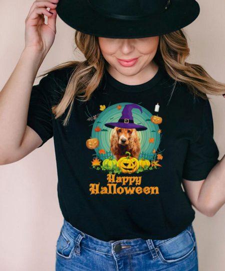 Happy Halloween English Cocker Spaniel Dog Witch Pumpkin shirt