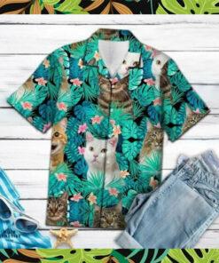 Cat Tropical Flower Animal Lover Hawaii Shirt