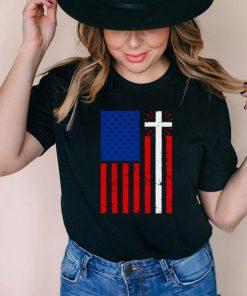 American Flag Cross Christian Christianity Jesus T shirt