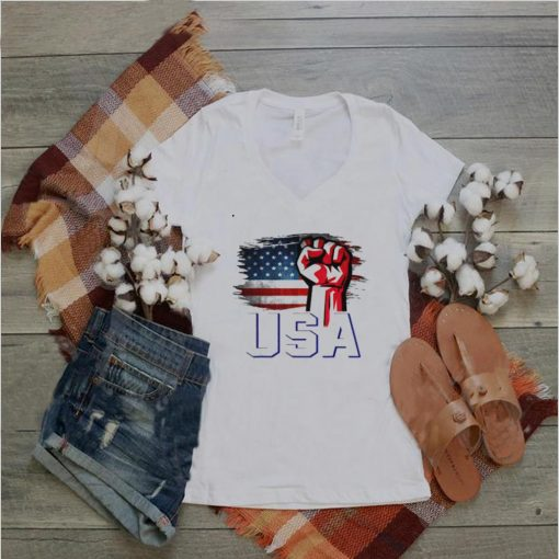 American Patriotic USA Flag With Fist Hand T Shirt