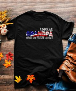 Awesome regular grandpa trying not to raise liberals american flag shirt