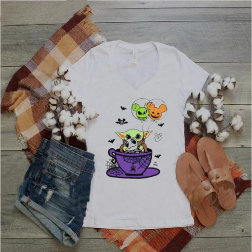 Baby Yoda hug Jack Skellington Halloween coffee shirt